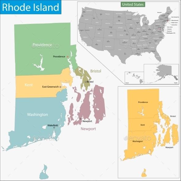 Rhode Island Map - Travel Conceptual
