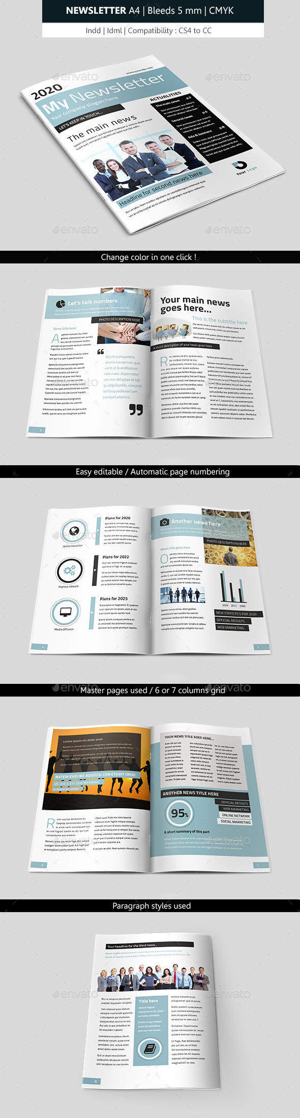 Business Indesign Newsletter Template - Newsletters Print Templates