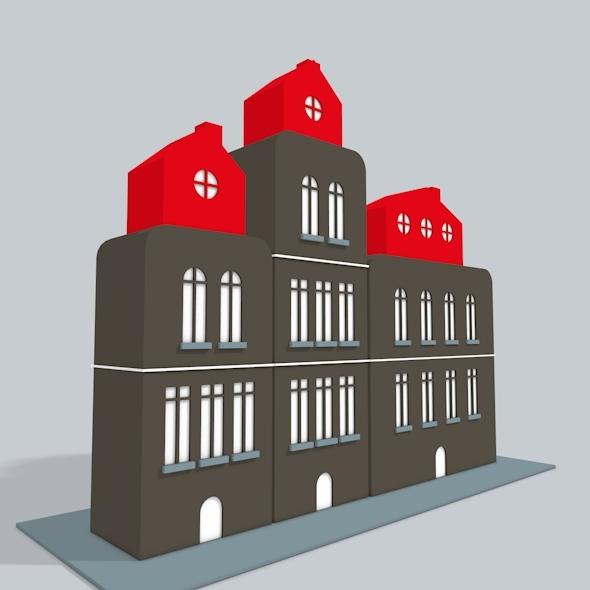 3D Buildings Low Poly - 3DOcean Item for Sale