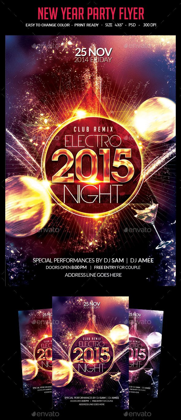 Electro 2015 New Year Party Flyer - Events Flyers