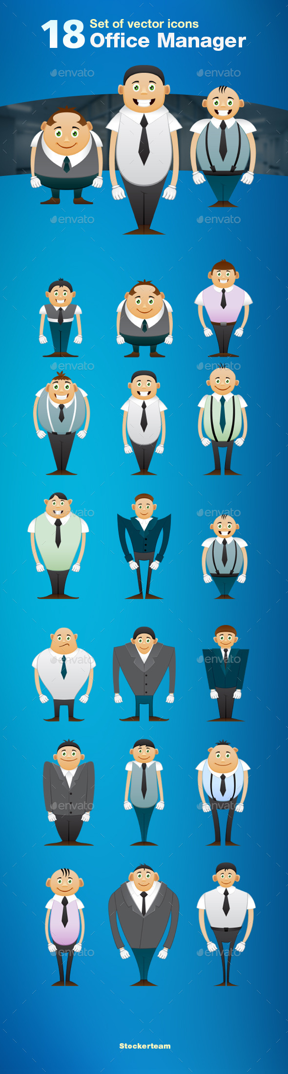 Set of 18 Office Manager Icons - People Characters