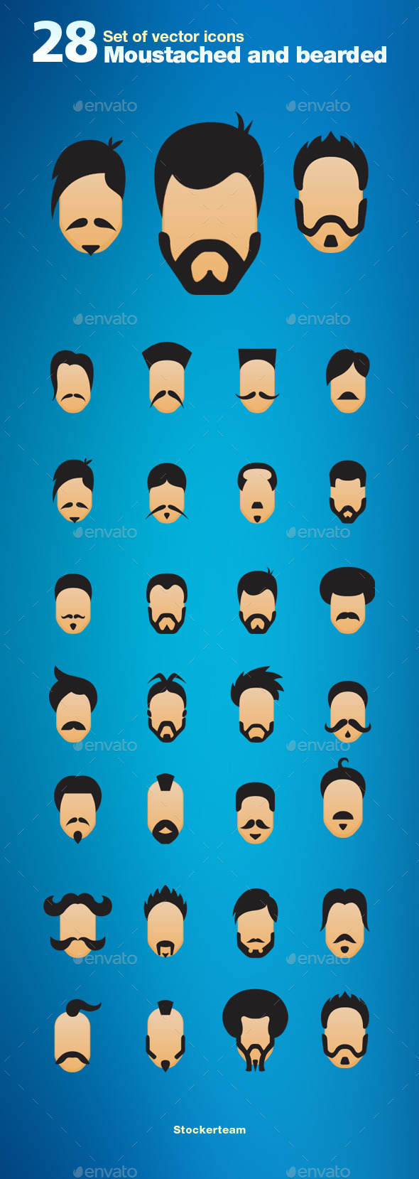 Set of 28 Moustache and Bearded Icons - Characters Vectors