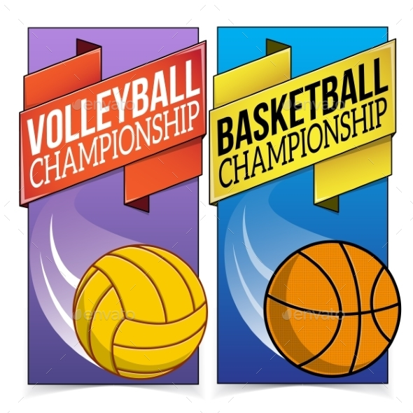 Basketball and Volleyball Banners  - Backgrounds Decorative