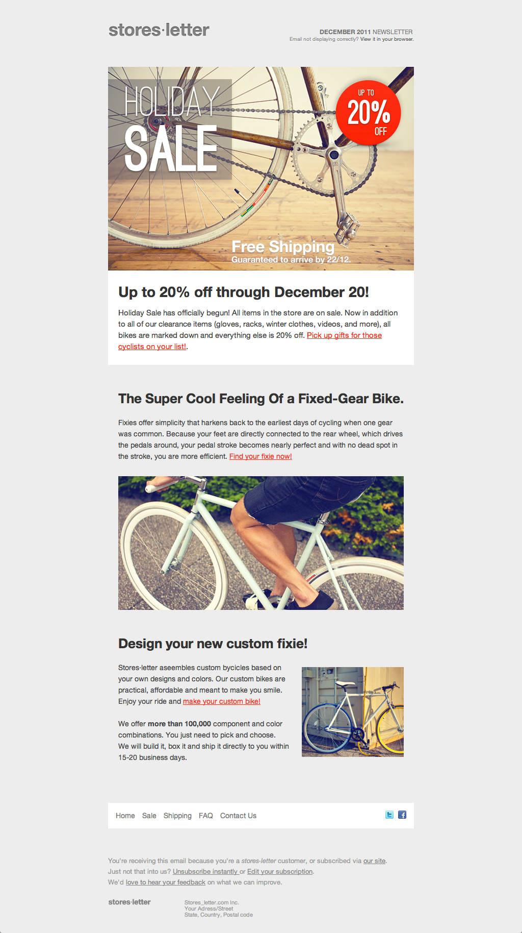 Storesletter html email marketing template to sell