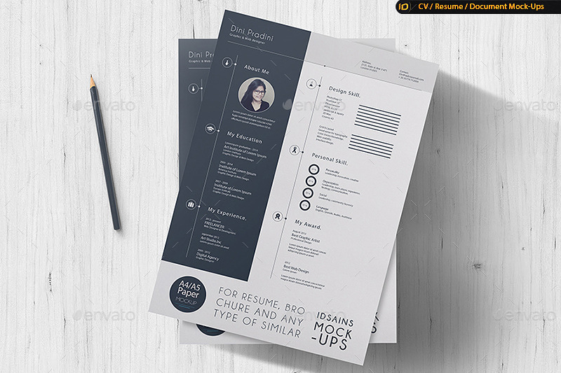 ... A4 Resume Mockup By IDsains 6 ...  Paper For Resume
