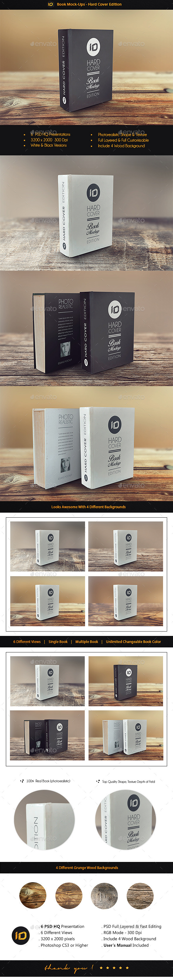 Hard Cover Book Mock Up - Books Print