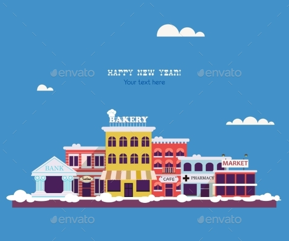 Set Buildings of Small Business Flat Design - Buildings Objects