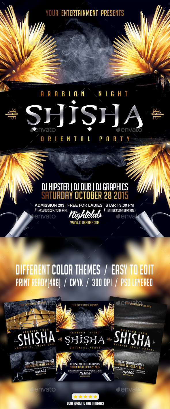 Shisha Hookah Oriental PSD Party Flyer - Events Flyers