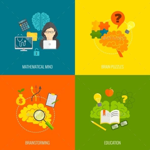 Brain Icons Flat - Web Elements Vectors