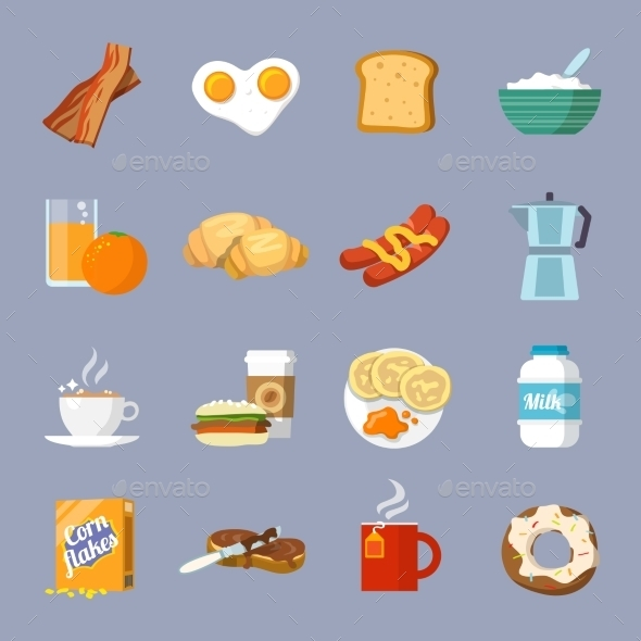 Breakfast Icons - Food Objects