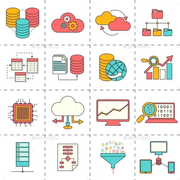 Data Analysis Flat Line Icons - Web Icons