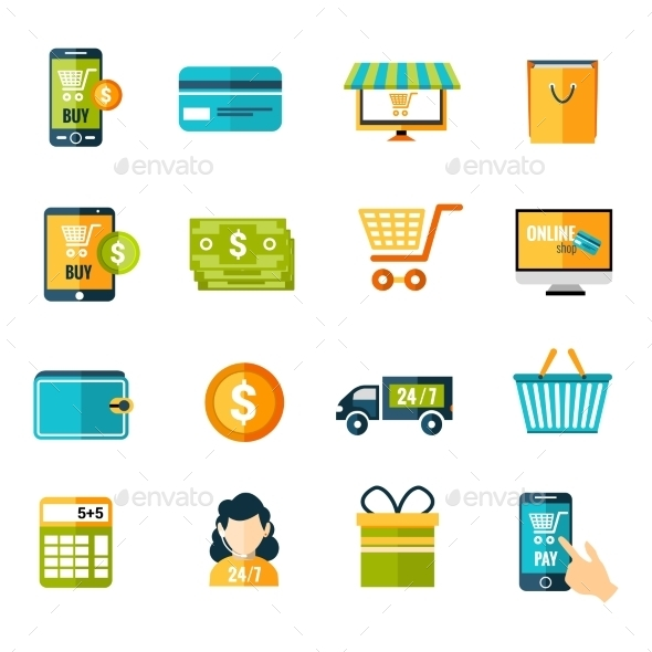 E-Commerce Icons Set - Commercial / Shopping Conceptual