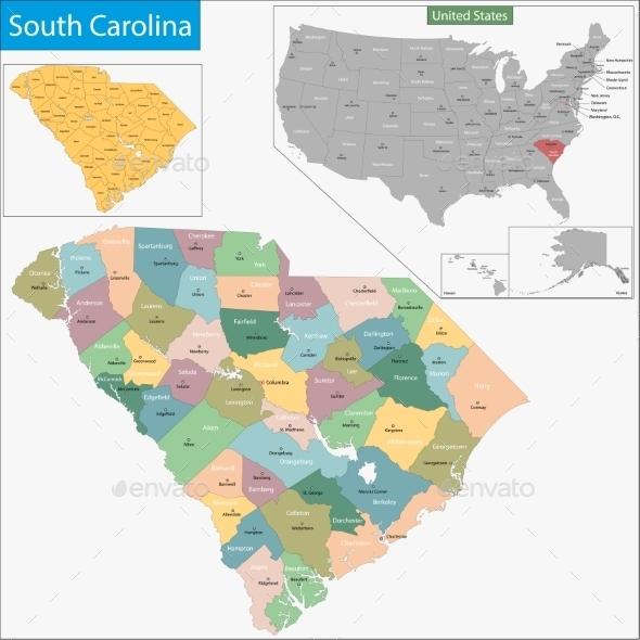 South Carolina Map - Travel Conceptual