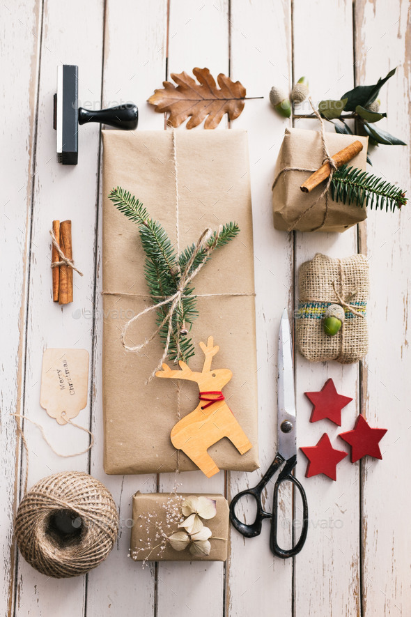 Homemade wrapped christmas presents - Stock Photo - Images
