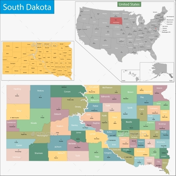 South Dakota Map - Travel Conceptual