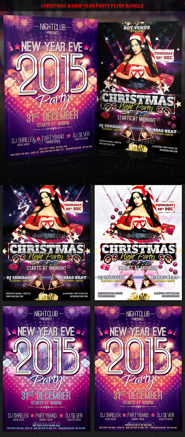 Christmas & New Year Eve Party Flyer Bundle - Clubs & Parties Events