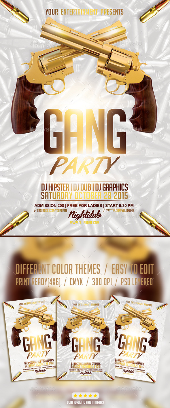 Gang Hip Hop Party PSD Flyer Template - Events Flyers