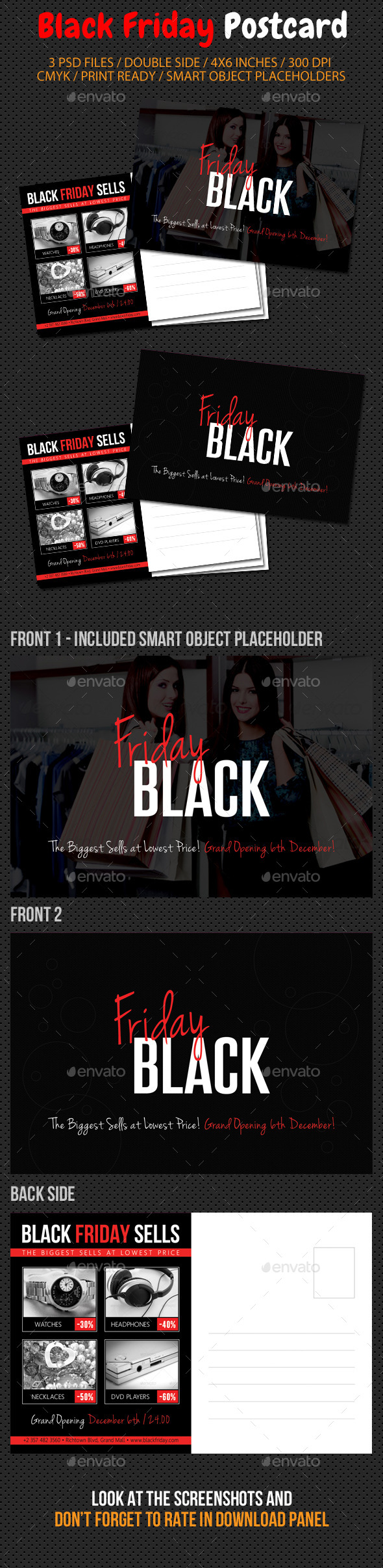 Black Friday Postcard Template V01 - Cards & Invites Print Templates