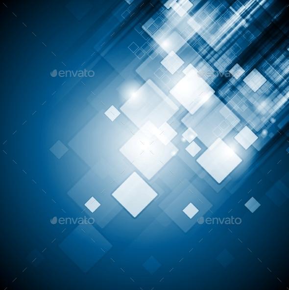 Bright Blue Tech Squares Background - Backgrounds Decorative