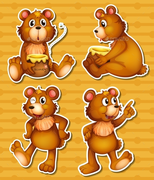 Bear and Honey - Animals Characters