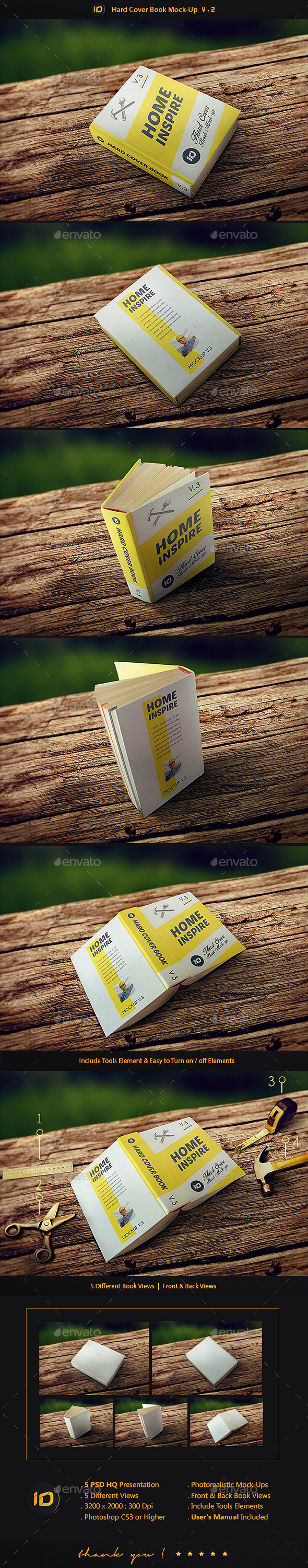 Hard Cover Book Mock-Up V.2 - Photorealistic - Books Print