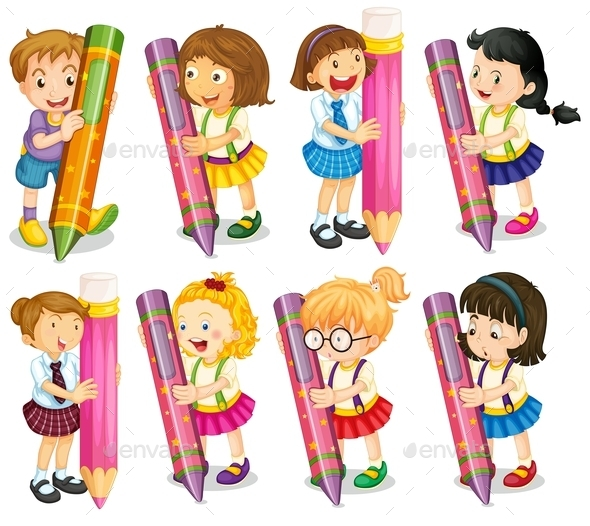 Kids with Pencils - People Characters