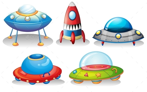 Flying Saucers and a Rocket - Travel Conceptual