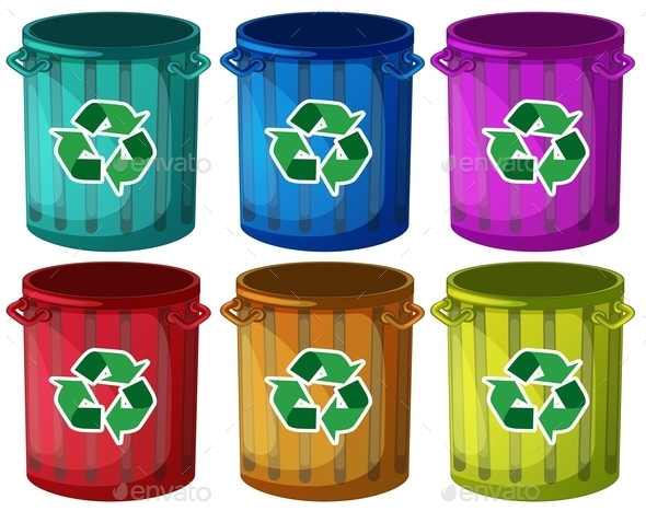 Trashbins with Recycle Signs - Man-made Objects Objects