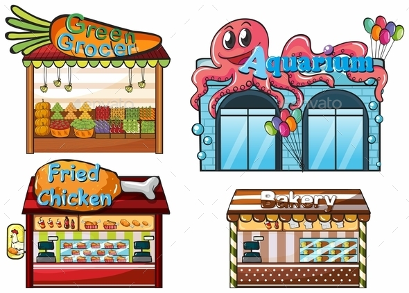 A Fruitstand, an Aquarium, a Food Stall and a Bakery - Commercial / Shopping Conceptual