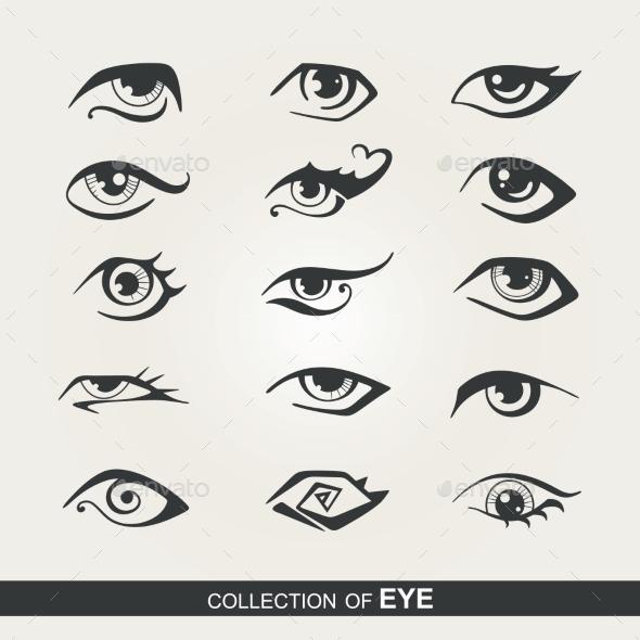 Set of Eyes - Tattoos Vectors