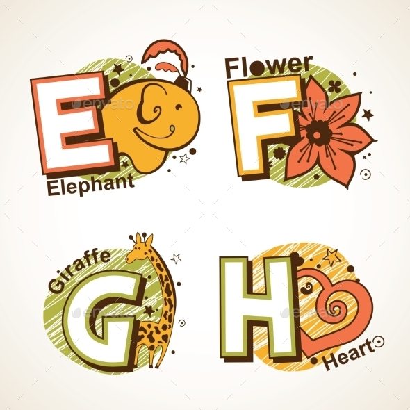 Alphabet Set from E to H - Miscellaneous Vectors