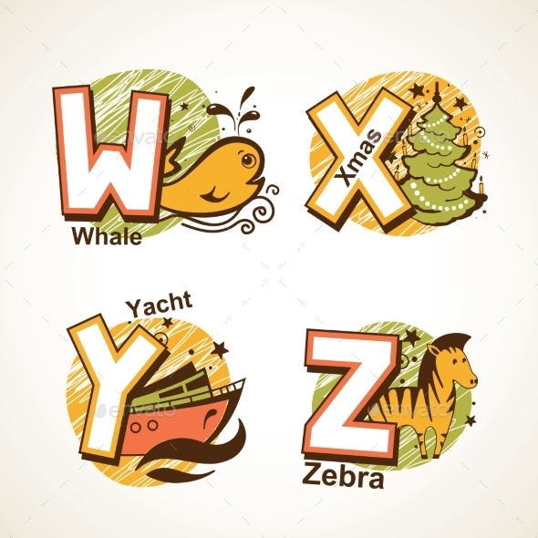 Alphabet Set from W to Z - Miscellaneous Vectors
