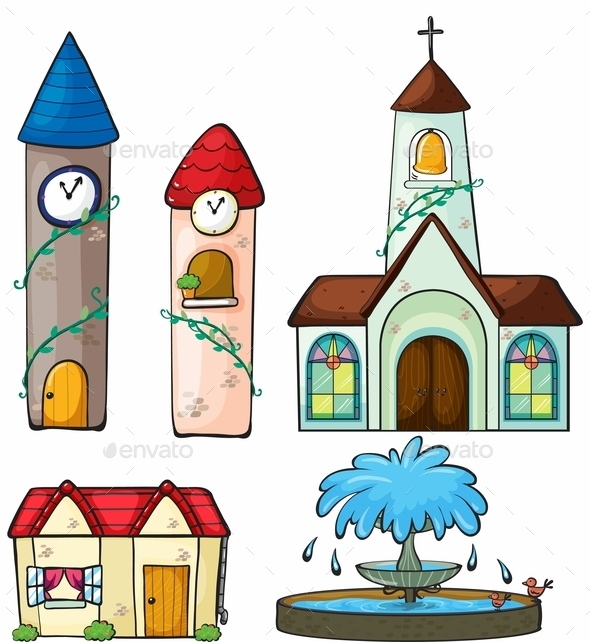 A Clock Tower, Church, House and Fountain - Buildings Objects