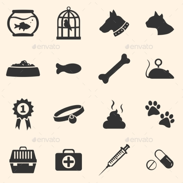 Vector Set of Pets Icons - Miscellaneous Conceptual