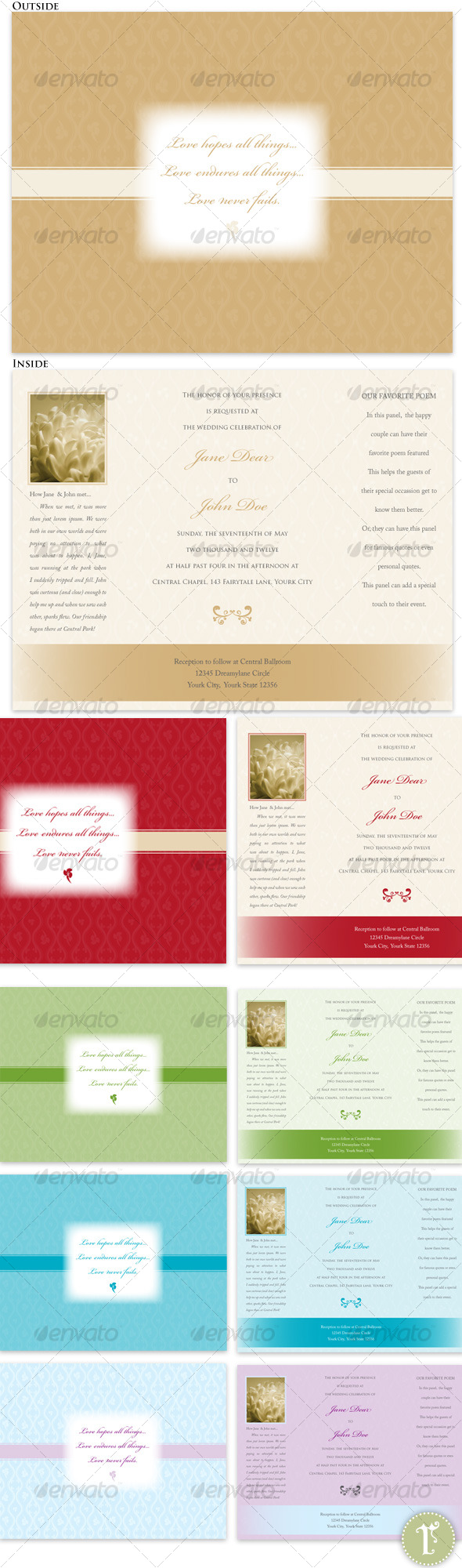 Trifold Wedding Invitations-Tan, Red, Teal, Green - Weddings Cards & Invites