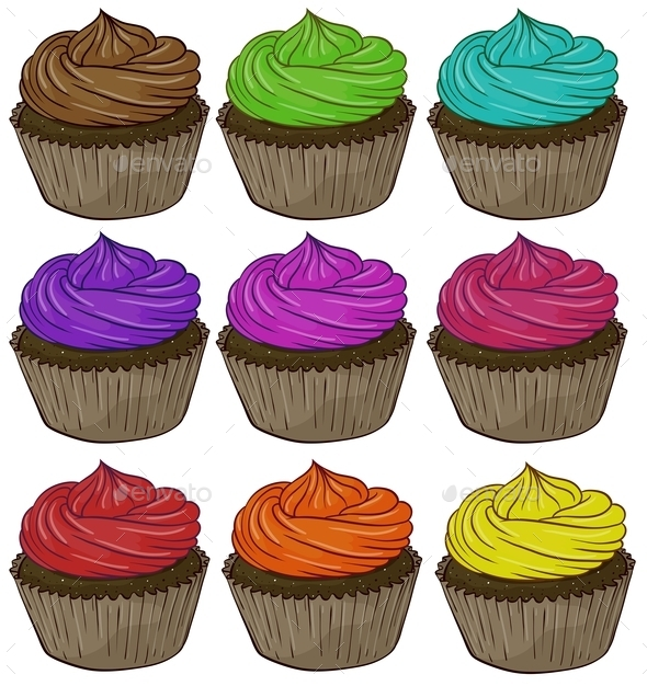 Colorful Cupcakes - Food Objects