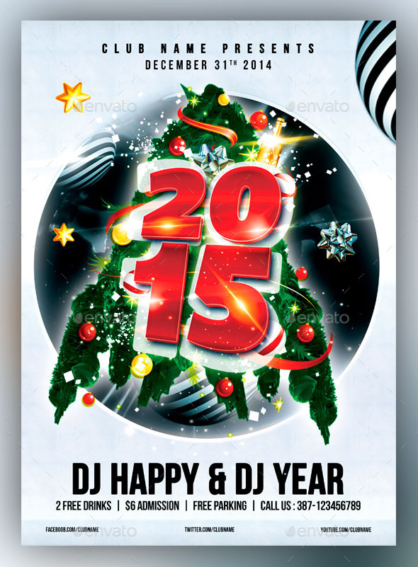 New Year Party Flyer/Poster - Flyers Print Templates