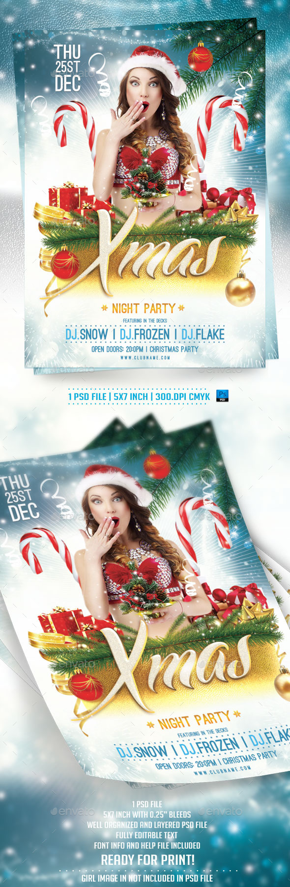 Xmas Night Party Flyer Template - Holidays Events