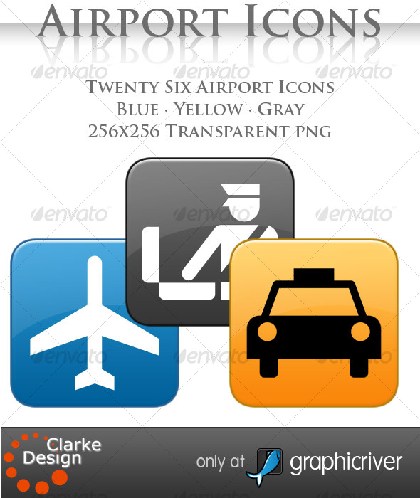 A collection of 26 Airport Icons - Objects Icons