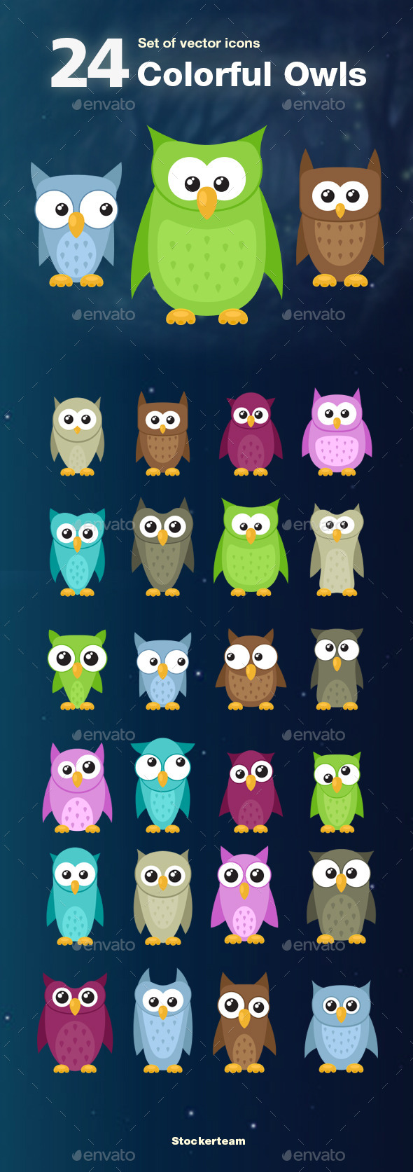 Set of 24 Colorful Owls - Animals Characters