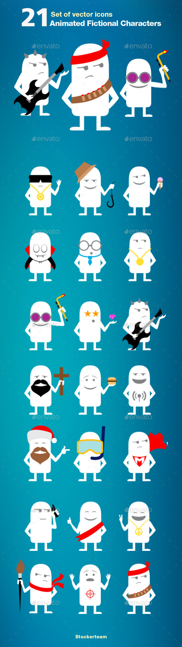 Set of 21 Animated Fictional Characters - Miscellaneous Characters