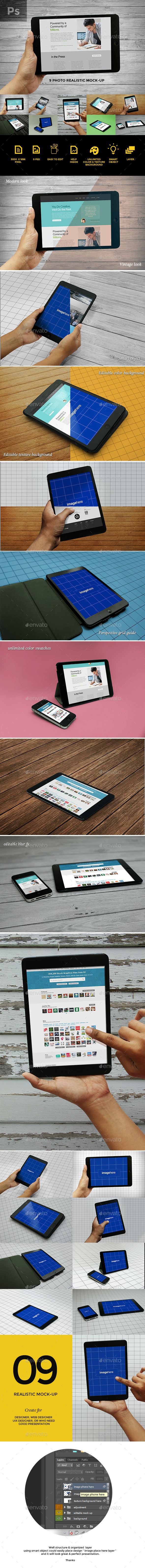 9 Photo Realistic Tablet Phone Mockups  - Displays Product Mock-Ups