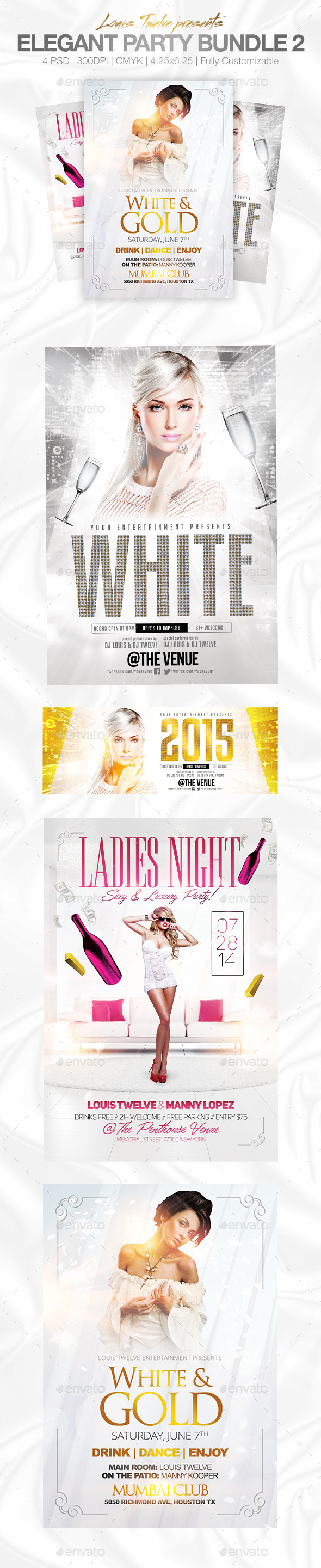 Elegant Party Flyer Bundle - White Affair Edition - Clubs & Parties Events