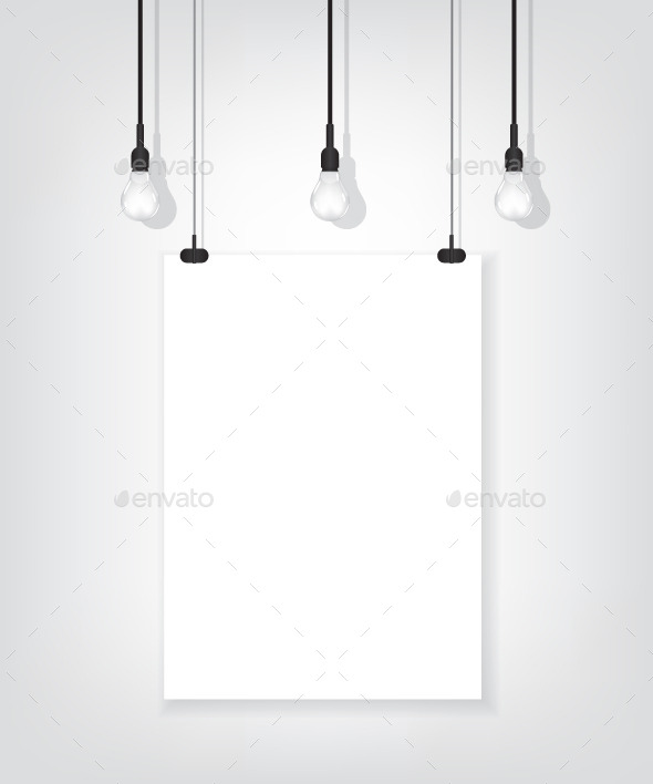 White Poster on Wall and Bulb - Objects Vectors