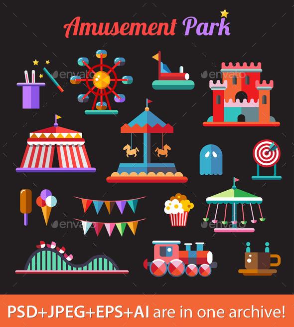 Amusement Park Icons - Objects Vectors