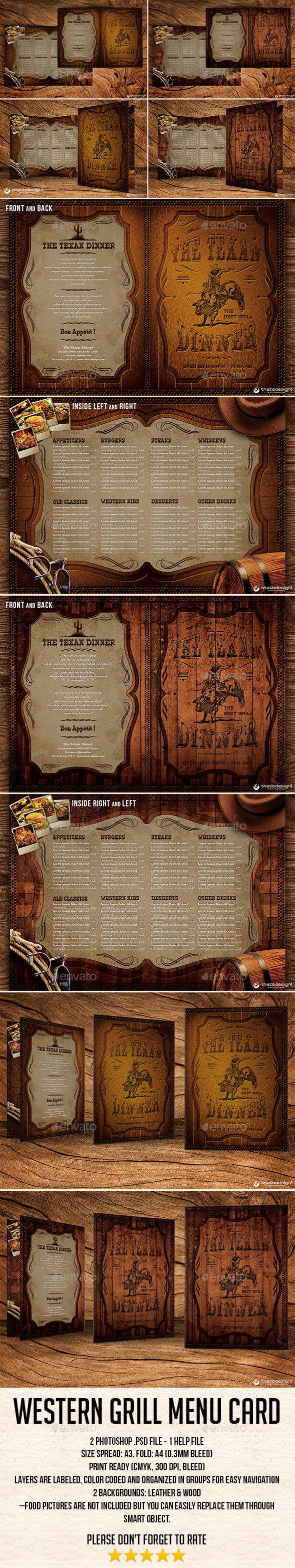 Western Grill Restaurant Menu Card Template - Restaurant Flyers