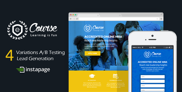 eCourse - Instapage Education Sign Up Landing Page - Instapage Marketing