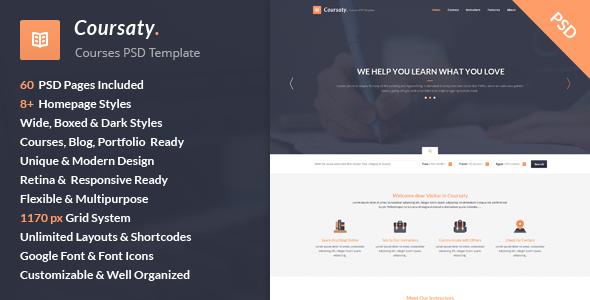Coursaty – Courses PSD Template