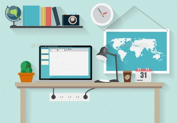 Working Place Modern Office Interior Flat Design - Communications Technology