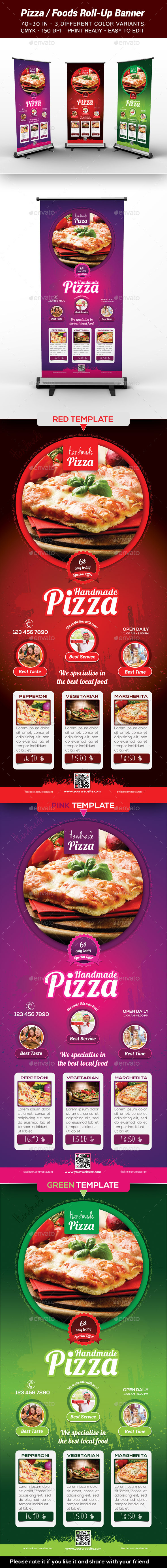 Pizza / Food Roll-Up Banner - Print Templates